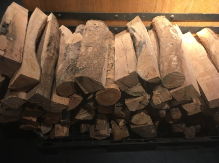 Firewood on display as props
