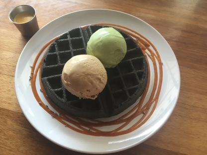 Charcoal Waffle + Salted Yolk Sauce