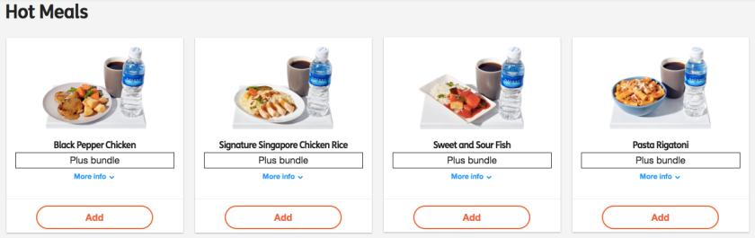 Jetstar Asia In-Flight meals selection