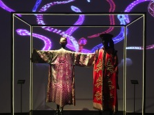 """""""Dragon"""" embroidered dress (Left), Costume designed by James Acherson for the film The Last Emperor, 1987 (Right)"""